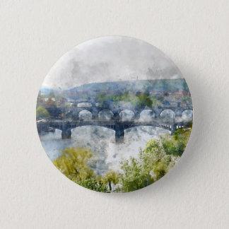 Ansicht des die Moldau-Flusses und der Brücken, Runder Button 5,1 Cm