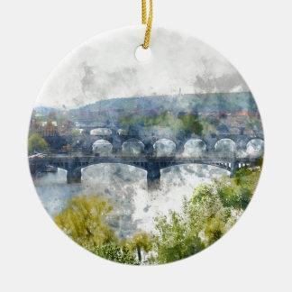 Ansicht des die Moldau-Flusses und der Brücken, Rundes Keramik Ornament