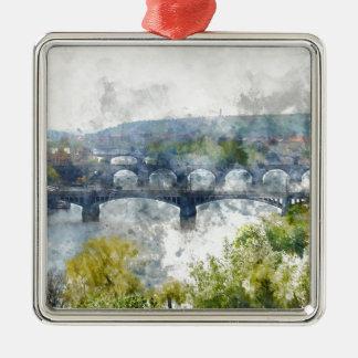 Ansicht des die Moldau-Flusses und der Brücken, Silbernes Ornament