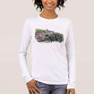 Ansicht des Dorfs und der Kirche (Foto) 3 Langarm T-Shirt