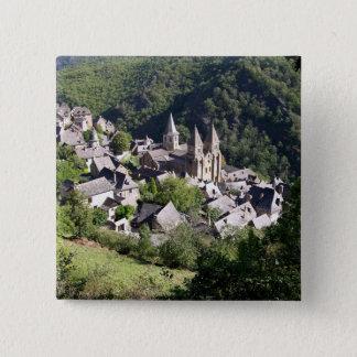 Ansicht des Dorfs und der Kirche von St. Foy (pho Quadratischer Button 5,1 Cm