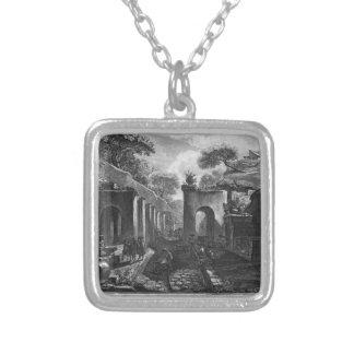 Ansicht des Hafens der alten Stadt von Pompeji Versilberte Kette
