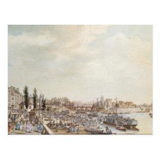 Ansicht des Hafens St Paul, Paris, 1782 Postkarte
