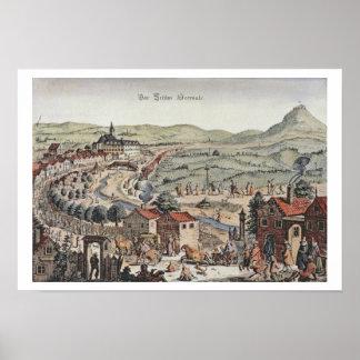 Ansicht des Nordens von Wien mit dem Schlos Hernal Poster