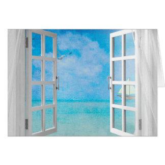 Ansicht des offenen Fensters von Ozean Grußkarte