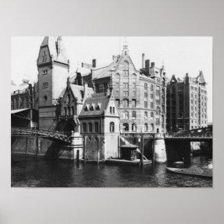 Ansicht des Speicherstadt Hamburg, c.1910 Poster