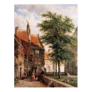 Ansicht hinter das Grote Kerk in Naarden durch Postkarte