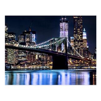 Ansicht New York der Brooklyn-Brückenreflexion Postkarte