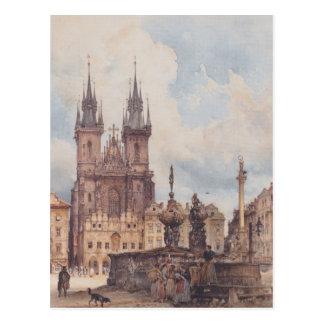 Ansicht Rudolf Alt des alten Rathausplatzes Postkarte