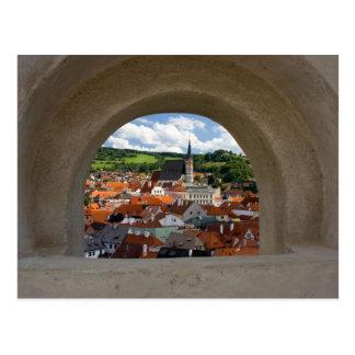 Ansicht über Cesky Krumlov Stadt vom Schloss Postkarte