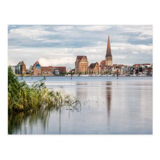 Ansicht über den Fluss Warnow nach Rostock Postkarte