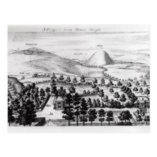 Ansicht von Avebury Steeple von Silbury Hügel Postkarte