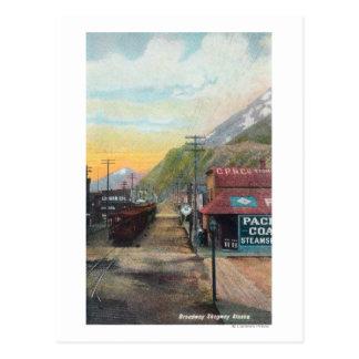 Ansicht von Broadway u. von Eisenbahn CarsSkagway, Postkarte