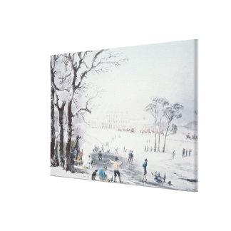 Ansicht von Buckingham Haus, James-Park im Winter Gespannte Galeriedrucke