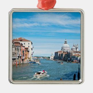 Ansicht von der Brücke in Venedig Quadratisches Silberfarbenes Ornament
