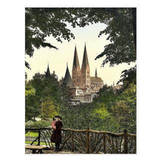 Ansicht von der Wand in Richtung zu Marys Kirche, Postkarte