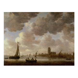 Ansicht von Dordrecht stromabwärts vom Grote Kerk, Postkarte