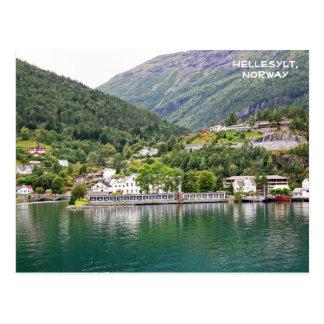 Ansicht von Hellesylt, Geirangerfjord, Norwegen Postkarte
