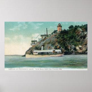 Ansicht von Leuchtturm und Kommandanten Launch Poster