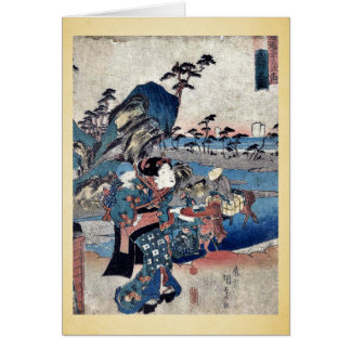 Ansicht von Okitsu durch Utagawa, Toyokuni Ukiyoe Grußkarte