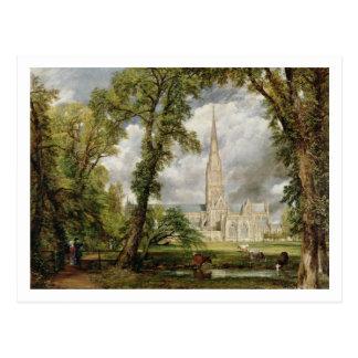 Ansicht von Salisbury-Kathedrale vom Grou des Postkarte