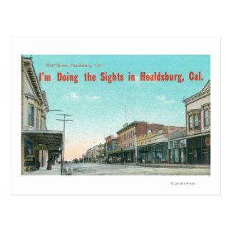 Ansicht von WestStreetHealdsburg, CA Postkarte