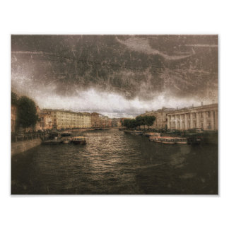 Ansicht zu Fontanka Fluss. St. Petersburg, Fotodruck