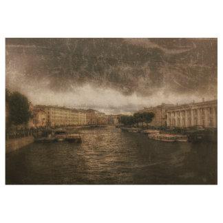 Ansicht zu Fontanka Fluss. St. Petersburg, Holzposter