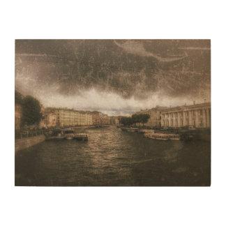 Ansicht zu Fontanka Fluss. St. Petersburg, Holzwanddeko