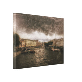 Ansicht zu Fontanka Fluss. St. Petersburg, Leinwanddruck