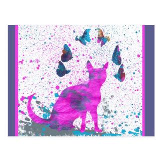 Anstarrenrosa Katze und Schmetterlinge Postkarte