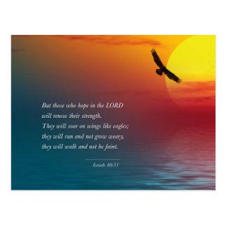 Ansteigen Jesaja-40:31 Vers-Bibel-Lords Eagle Postkarte