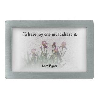 Anteil-Freude-Zitat mit lila Iris Rechteckige Gürtelschnalle