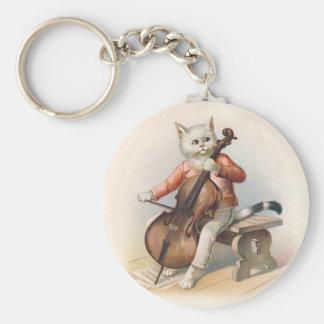 Anthropomorphe Katze, die Cello spielt Schlüsselanhänger