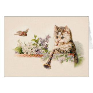 Anthropomorphes Kätzchen, das Horn - Vintage Kunst Grußkarte