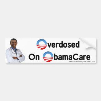 """Anti-Obama """"überdosiert auf Obamacare """" Auto Aufkleber"""