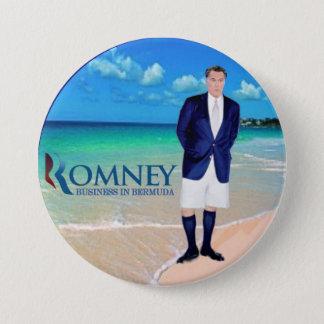 Anti-Romney: Geschäft in Bermuda Runder Button 7,6 Cm