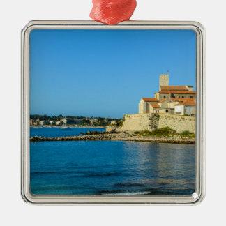 Antibes Frankreich Quadratisches Silberfarbenes Ornament