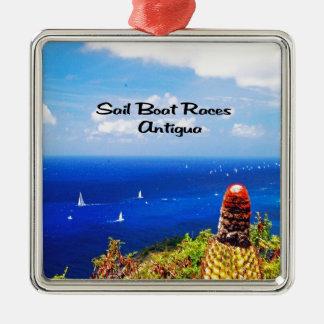 Antigua-Segelbootrennen Silbernes Ornament