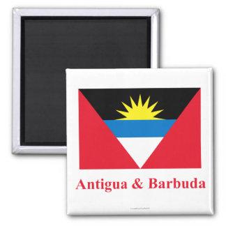 Antigua und Barbuda-Flagge mit Namen Quadratischer Magnet