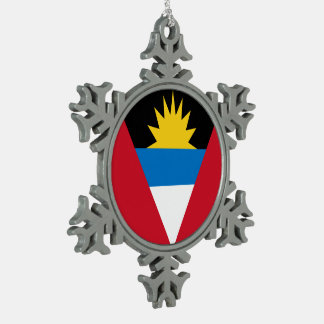 Antigua und Barbuda-Flagge Schneeflocken Zinn-Ornament