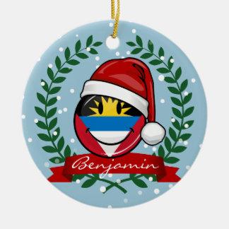 Antigua und Barbuda-smiley-Weihnachtsart Keramik Ornament