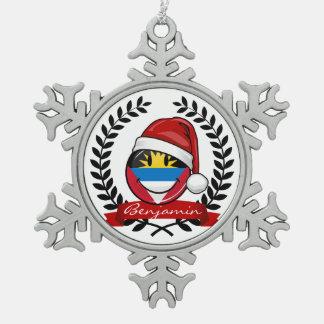 Antigua und Barbuda-smiley-Weihnachtsart Schneeflocken Zinn-Ornament