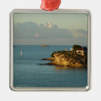 Antiguanische Küsten-schöner Insel-Meerblick Silbernes Ornament