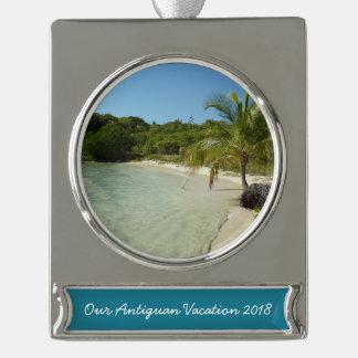 Antiguanischer Strand-schöne tropische Landschaft Banner-Ornament Silber