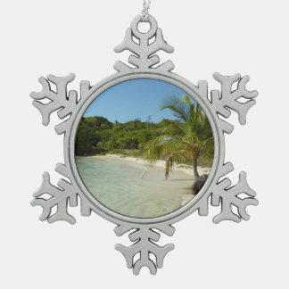 Antiguanischer Strand-schöne tropische Landschaft Schneeflocken Zinn-Ornament