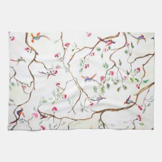Antik, Blumen, Vögel, wie alte Tapete Handtuch