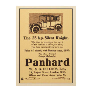 Antike Anzeige ab 1913 für Panhard-Auto Holzleinwand