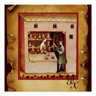 ANTIKE APOTHEKE Medizin, Drogerie, Pergament Posterdrucke