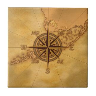 Antike Art-Kompass-Rose Keramikfliese